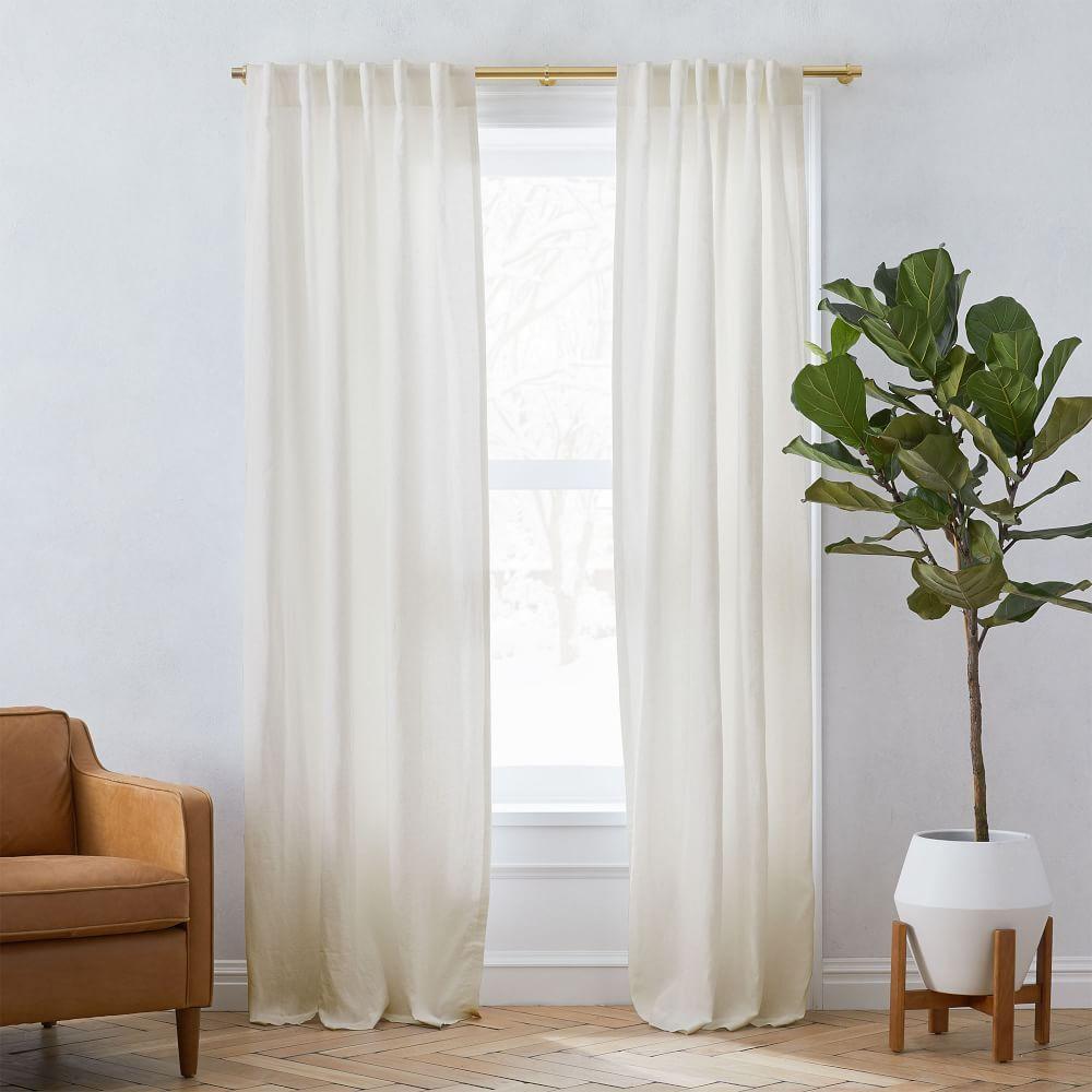 "Belgian Flax Linen Curtain, Set of 2, Natural, 48""x96"" - UNLINED"