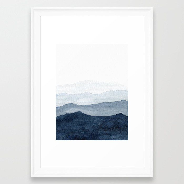 """Indigo Abstract Watercolor Mountains Framed Art Print, 15"""" x 21"""", Scoop white frame"""