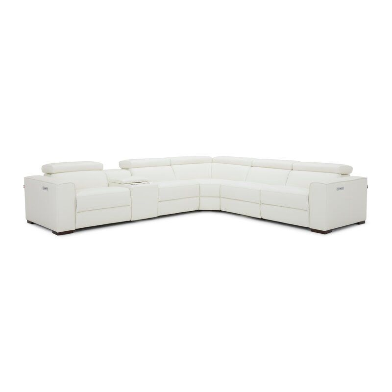 """Felsenthal Leather 138"""" Reversible Reclining Sectional"""