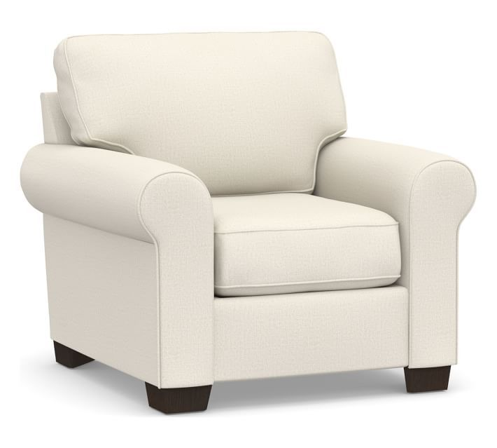 Buchanan Roll Arm Upholstered Armchair, Polyester Wrapped Cushions, Performance Heathered Tweed Ivory