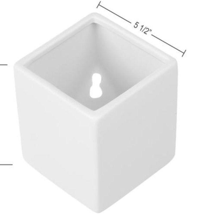Cube 5 1/2 in. x 6 in. White Ceramic Wall Planter