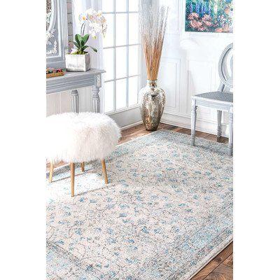 Navarrete Ivory & Cream/Blue Area Rug 8'x10'