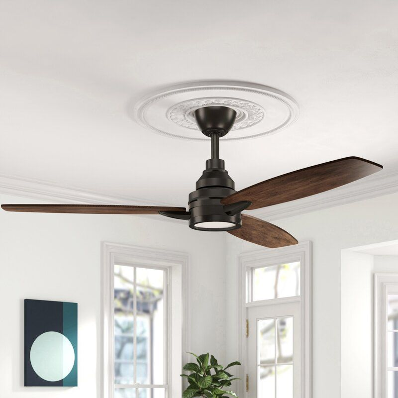 """60"""" Kovach 3 - Blade LED Standard Ceiling Fan with Remote Control and Light Kit Included"""