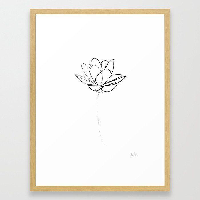 One line Lotus B&W Framed Art Print by Quibe