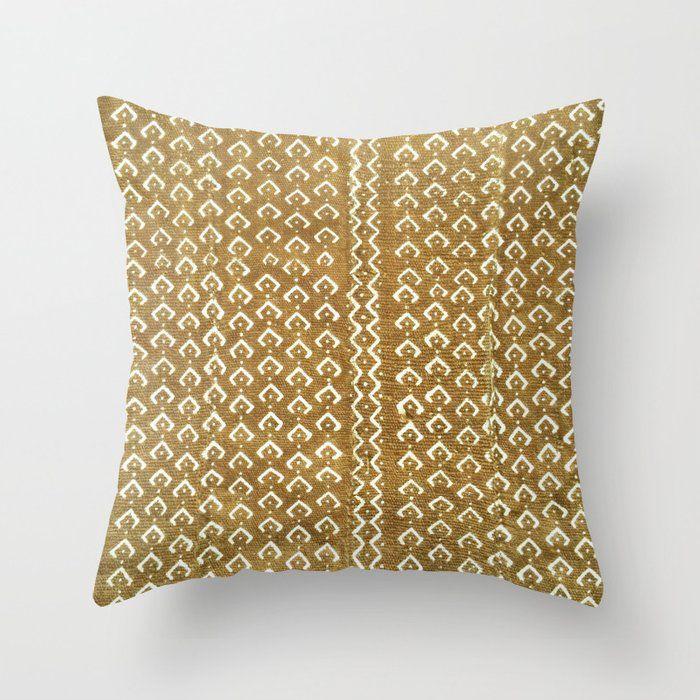 mustard croc/snakeskin mudcloth Throw Pillow with insert