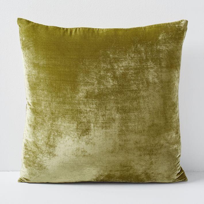 """Lush Velvet Pillow Cover, Wasabi, 20""""x20"""", Set of 2"""