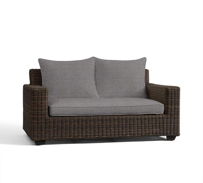 "Torrey Square-Arm 62"" Loveseat Sofa Cushion Slipcover, Sunbrella(R) Slate"
