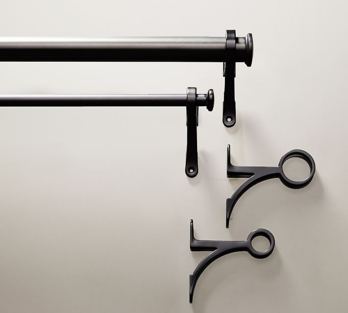 "PB Standard Drape Rod & Wall Bracket, 1.25"" diam., Small, Antique Bronze"