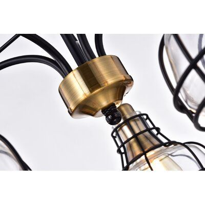 Sealey 5-Light Black and Antique Gold Chandelier with Clear Glass Shade