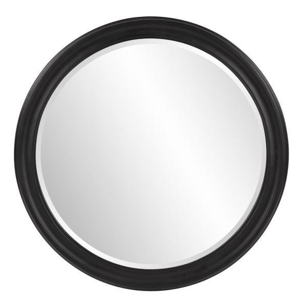 Medium Round Black Beveled Glass Classic Mirror (36 in. H x 36 in. W)