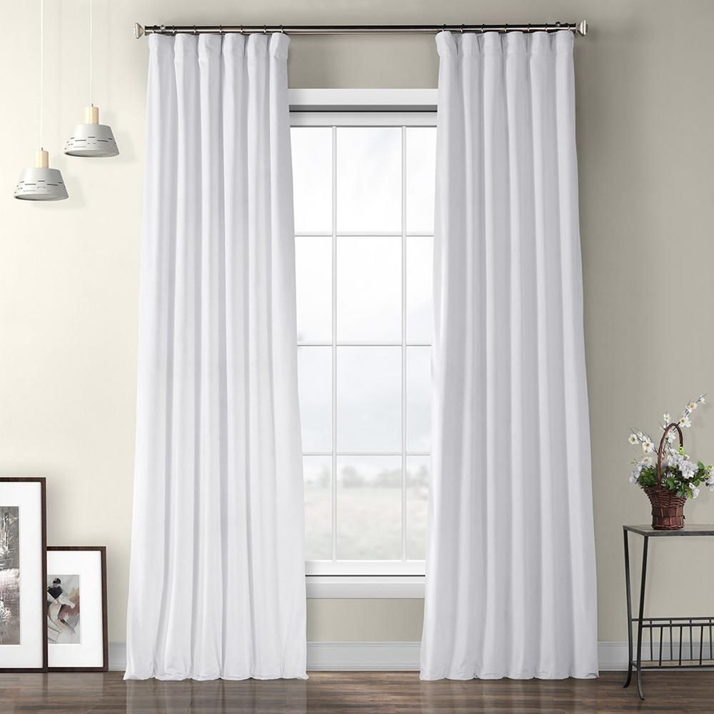 Exclusive Fabrics & Furnishings Pillow White Plush Velvet Curtain - 50 in. W x 84 in. L