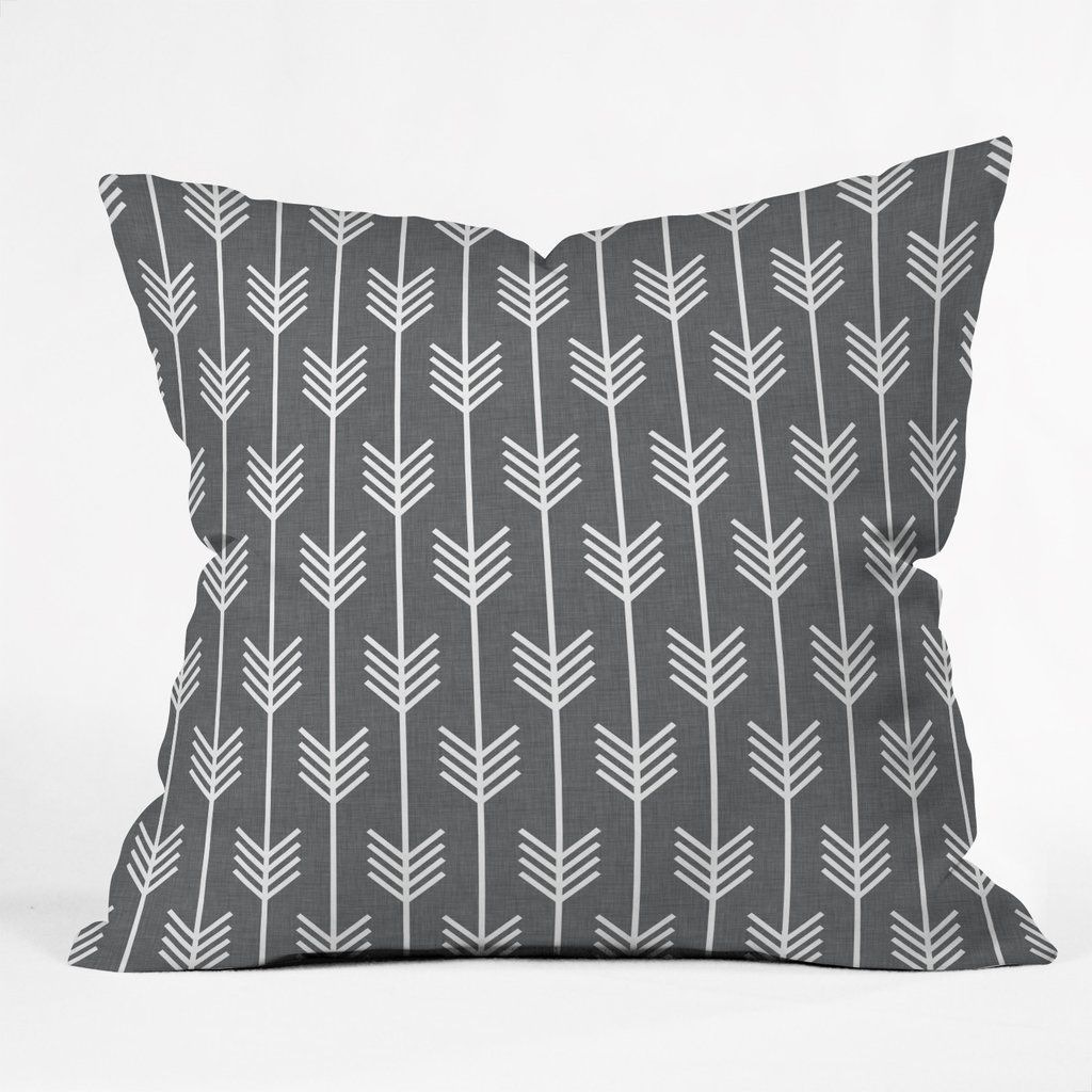 """Grey arrows Throw Pillow - insert included 16"""""""
