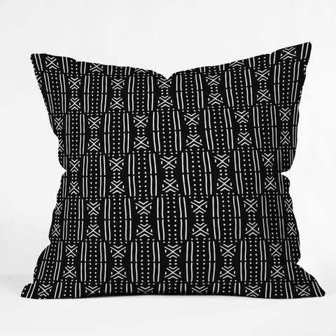 "Holli Zollinger MUDCLOTH BLACK Throw Pillow - 16"" x 16"""