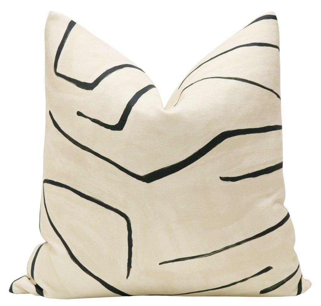 "Graffito // Linen + Onyx 18"" Pillow Cover"