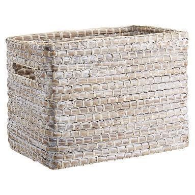 Naturalist Woven Storage Bin, White Wash