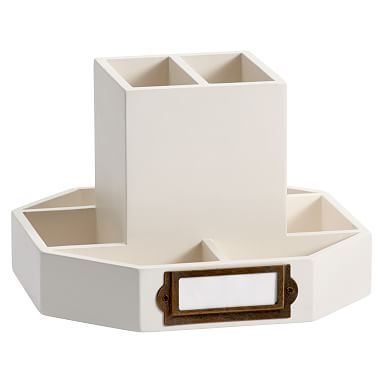 Classic Wooden Desk Accessories, Rotating Caddy, Simply White