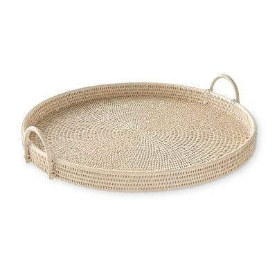 "Hapao Round Tray, Light Wash, Large / 25"" Dia"