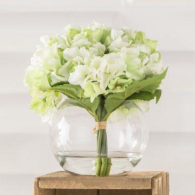 Hydrangea Floral Arrangement in Glass Vase