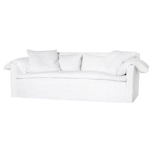 Cisco Brothers Donato Modern Classic Logan White Linen Slipcovered Sofa - 97 inch