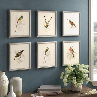 'Hummingbirds' 6 Piece Picture Frame Graphic Art Set