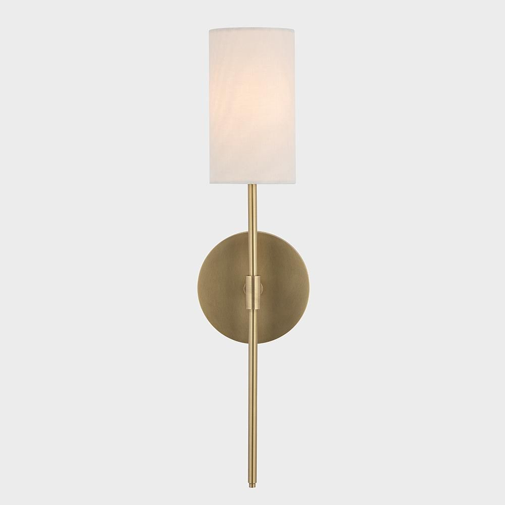 Fifth and Main Lighting Ollie 1-Light Aged Brass Wall Sconce with White Linen Shade