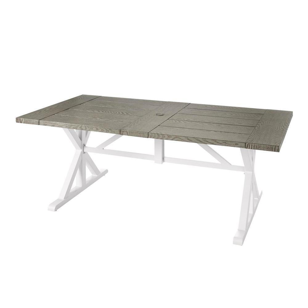 Hampton Bay Beacon Park Gray Rectangular Farmhouse Steel Outdoor Dining Table