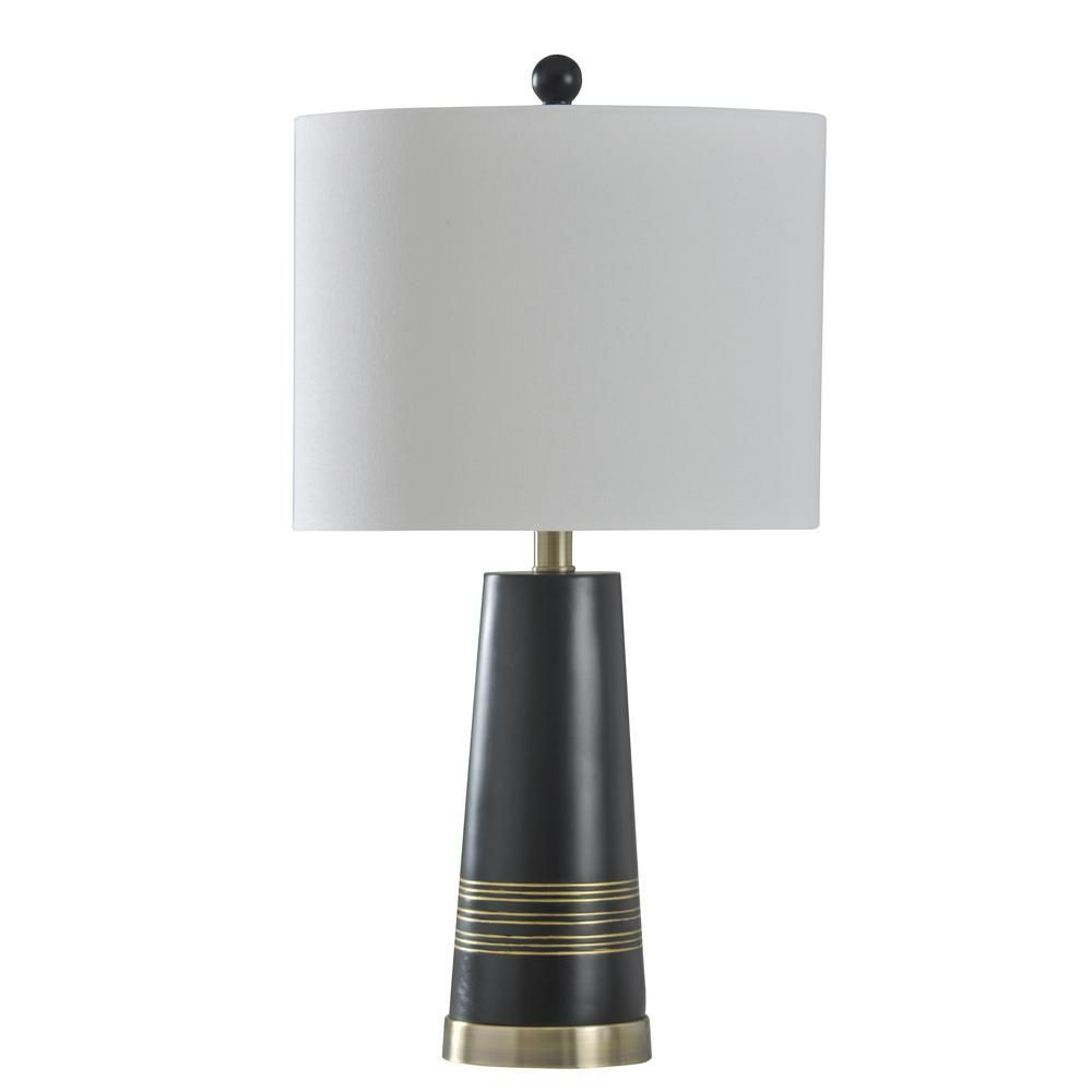 StyleCraft 24.75 in. Antique Brass Table Lamp with Brussels White Hardback Fabric Shade