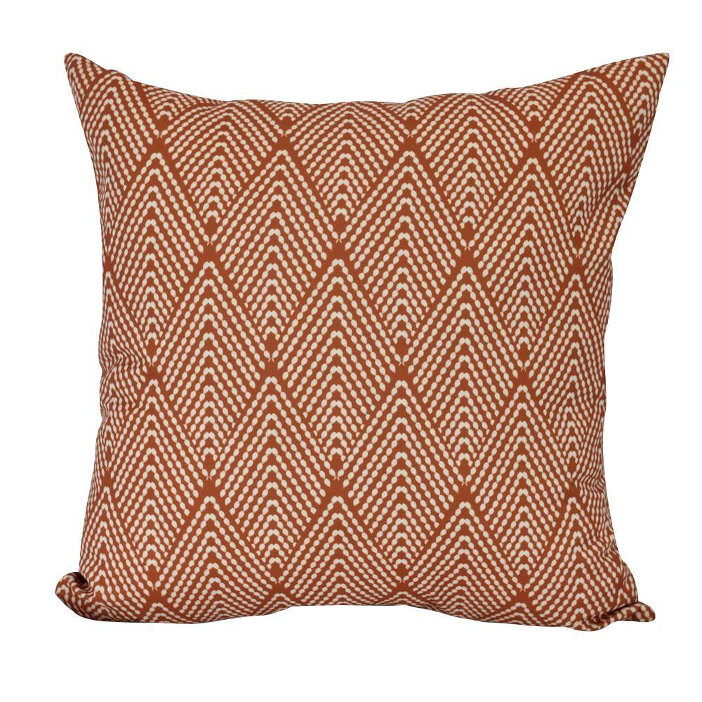 E by Design 16 in. Lifeflor Geometric Print Decorative Pillow, Oranges/Peaches