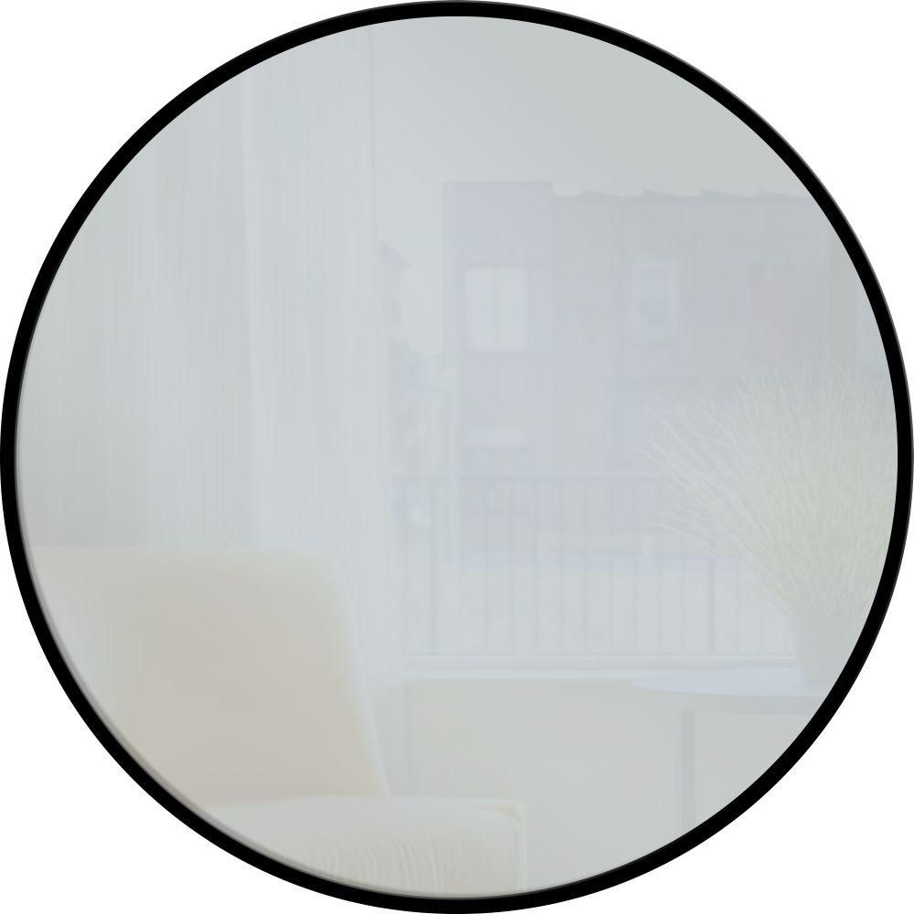 PTM Images 28 in. x 28 in. Black Round Metal Mirror