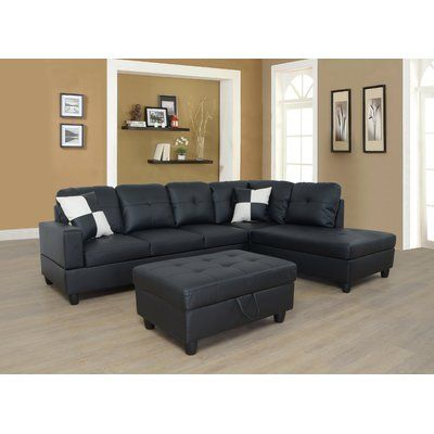 Wilhelmine Left Facing Faux Leather Sectional Sofa With Ottoman