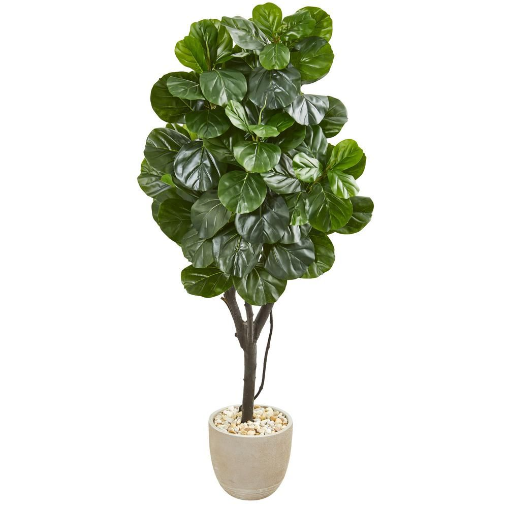 Nearly Natural Indoor 67 Fiddle Leaf Fig Artificial Tree in Sand Stone Planter