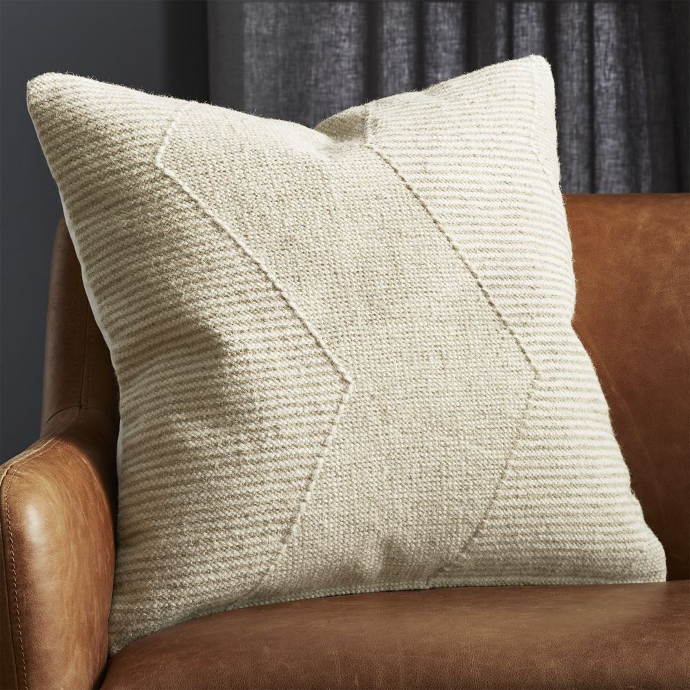 """23"""" Bias Natural Pillow with Feather-Down Insert"""