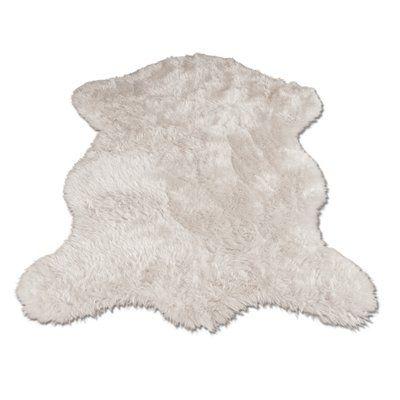 Ahamed Polar Bear Pelt White Area Rug