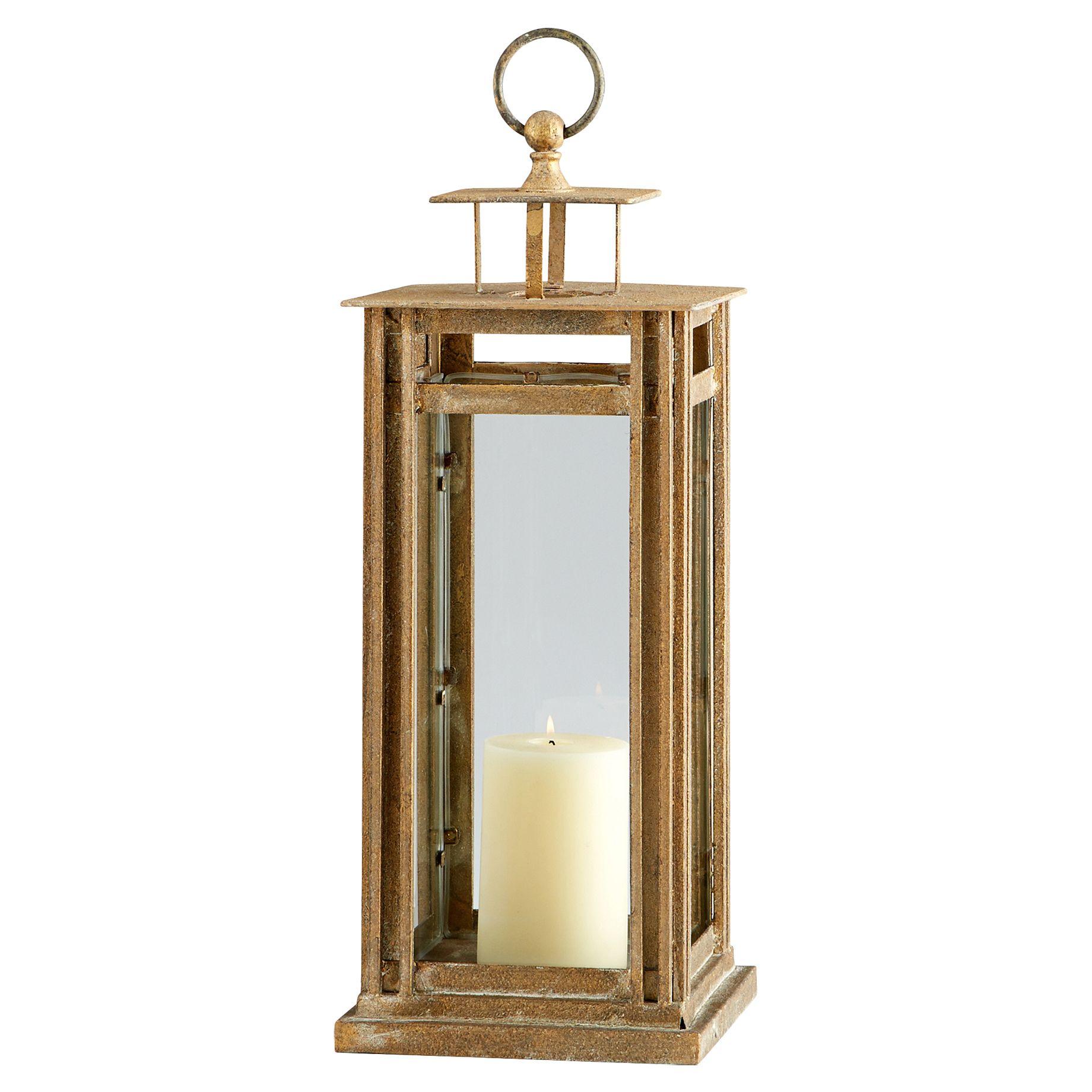 Abe Rustic Lodge Antique Gold Iron Glass Lantern Candleholder - Small