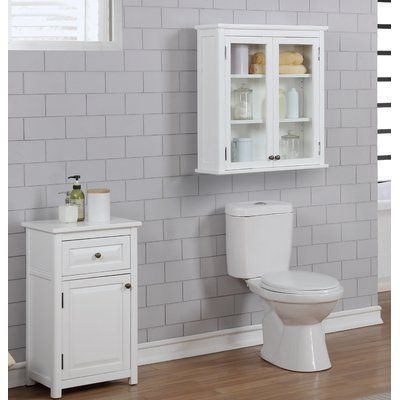 """Carruthers 27""""W x 29""""H Wall Mounted Bath Storage Cabinet with Glass Cabinet Doors"""