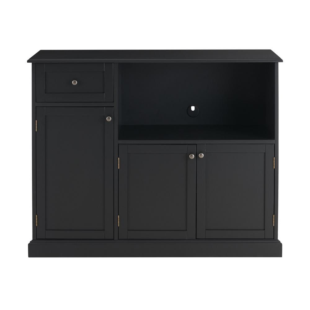 StyleWell Black Wood Transitional Kitchen Pantry with Pull-Out Shelf (42 in. W x 36 in. H)