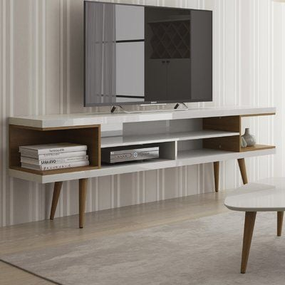 """Lemington 70.47"""" TV Stand with Splayed Wooden Legs and 4 Shelves"""