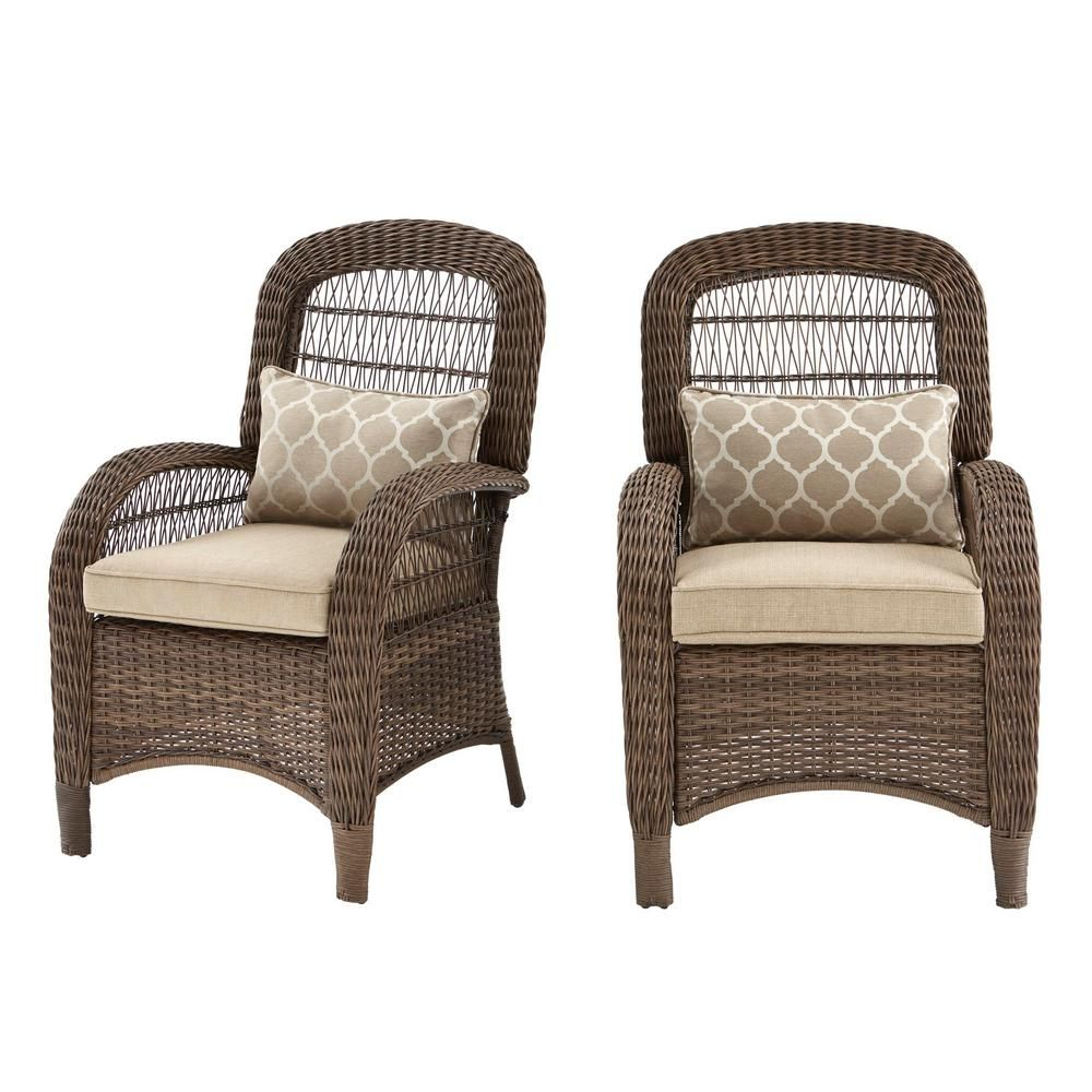 Hampton Bay Beacon Park Brown Wicker Outdoor Captain Dining Chair with Toffee Cushions (2-Pack)