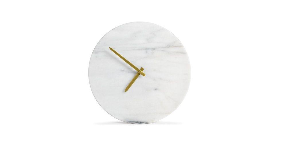 Maris White Marble Clock