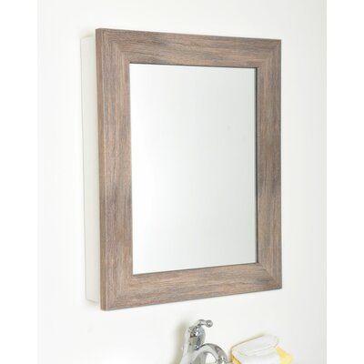 "Friddle Farmhouse Grain Mirrored 21.5"" x 26.5"" Surface Mount Framed Medicine Cabinet with 2 Adjustable Shelves"