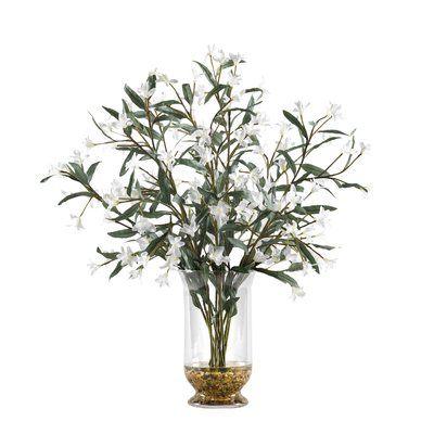 Wild Flowers Flowering Plant in Glass Hurricane Decorative Vase