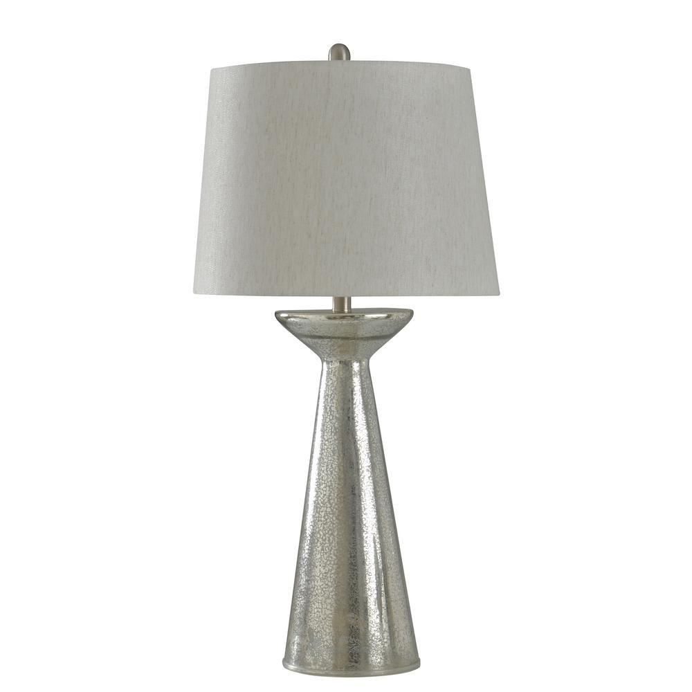 StyleCraft 34 in. Mercury Glass Table Lamp with Oatmeal Hardback Fabric Shade