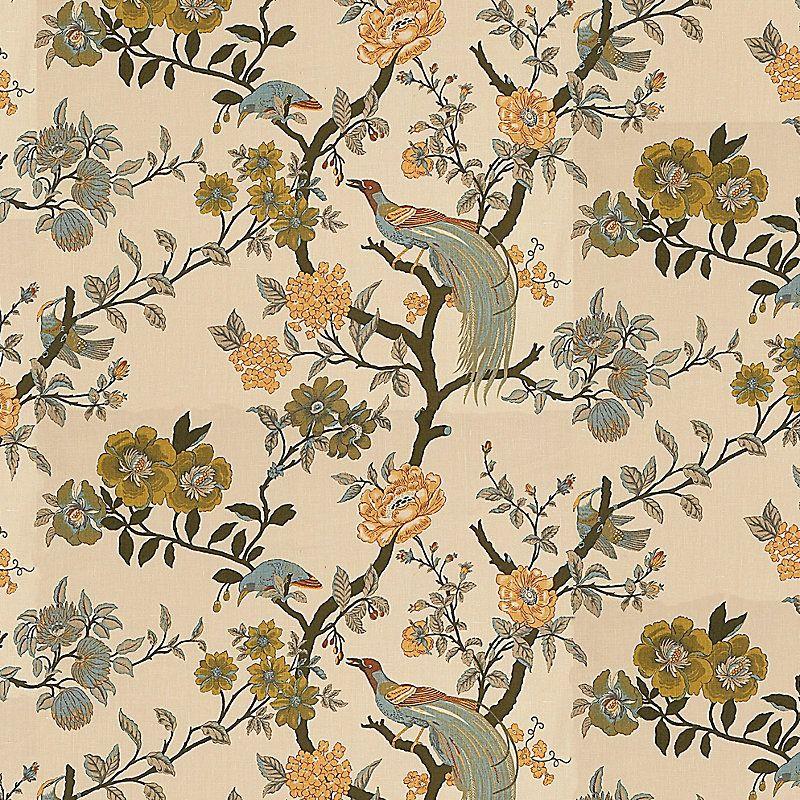 Willa Parchment Fabric By The Yard   - Ballard Designs