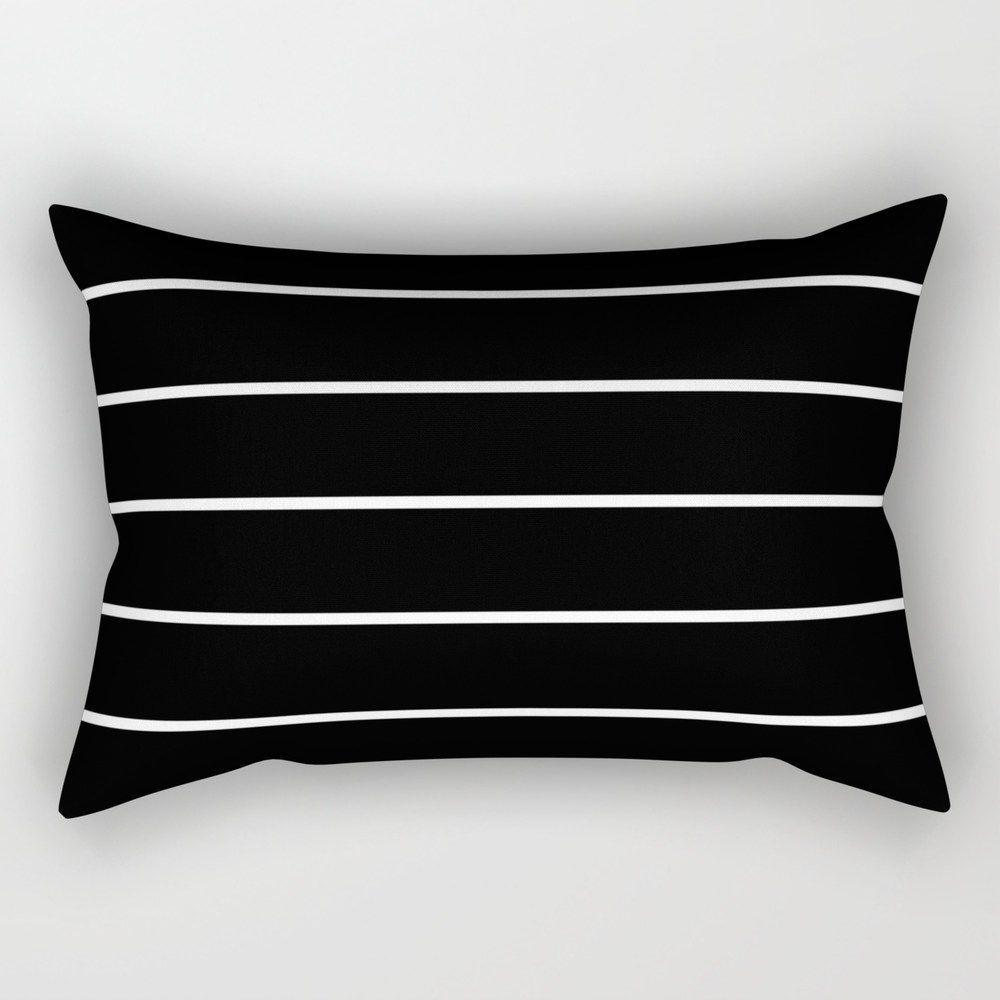 """Black White Pinstripes Rectangular Pillow - Small (17"""" x 12"""")"""