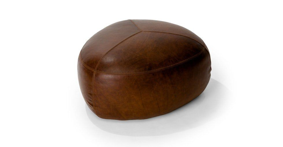 Stone Rawhide Brown Ottoman