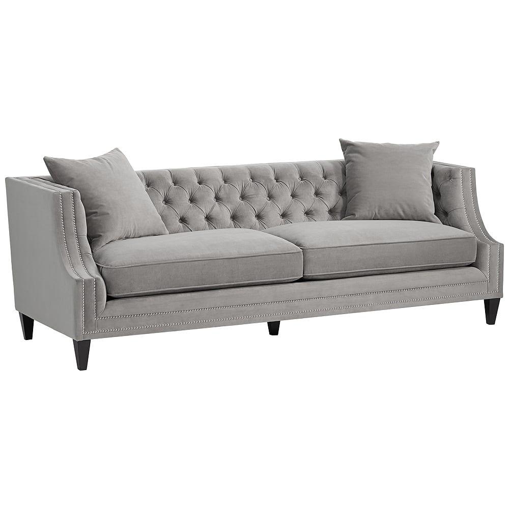 Marilyn Gray Velvet Tufted Upholstered Sofa - Style # 14K43