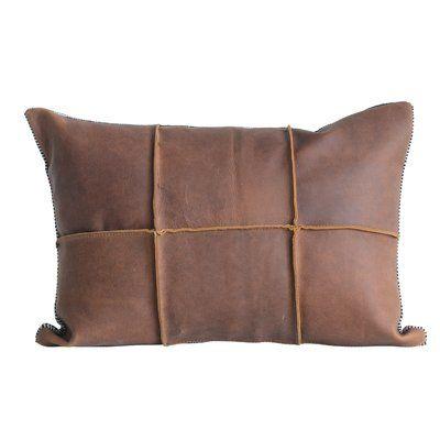 Tana Striped Leather Lumbar Pillow
