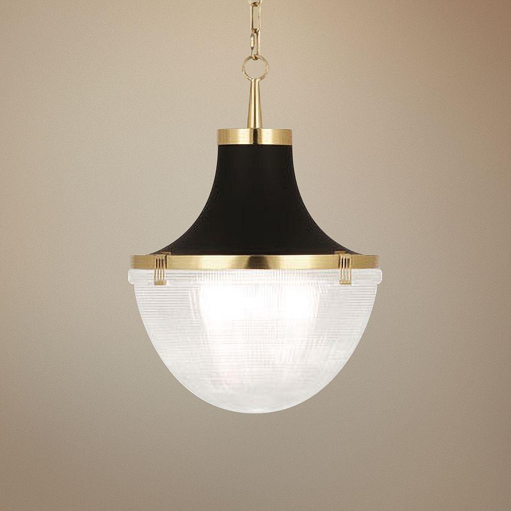 "Brighton 13"" Wide Modern Brass and Matte Black Pendant Light - Style # 75N08"