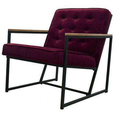 Perrone Mid-century Modern Accent Chair, Burgundy Upholstered Velvet Armchair with Black Metal Frame Living Room Furniture
