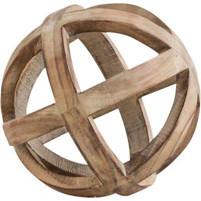Brown Decorative Wood Ball Sculpture